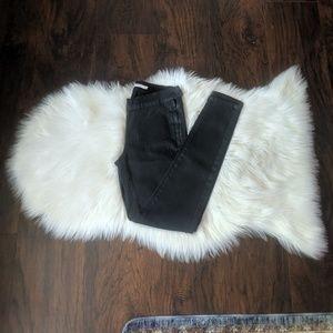710 super skinny mid rise black wax coat jeans 27